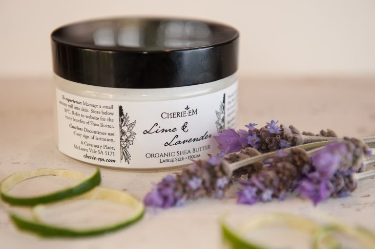 Lime and Lavender, organic shea butter body cream, 150gm size.