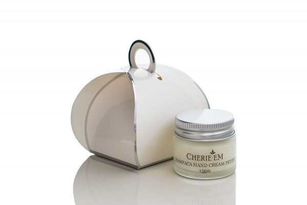 Champaca, lightly floral, hand cream in a 15gm small jar with a decorative box.