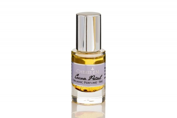 Cocoa petal roll on perfume, 5ml, featuring Jasmine Sambac and cocoa.