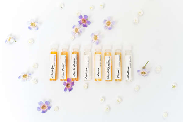 A range of botanical perfume samples made with all natural ingredients