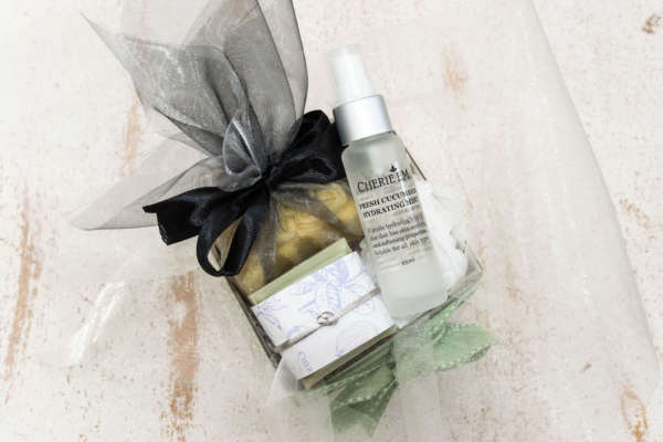 Small gift box with a soap, facial mist and massage bar